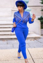 Autumn Casual Blue Rhinestone with Tassels Zipper Long Sleeve Top and Pant Set
