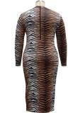 Vestido largo con cremallera y estampado de rayas de tigre de talla grande de otoño