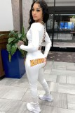 Otoño casual blanco manga larga parte trasera vendaje crop top y conjunto de pantalón con estampado de letras