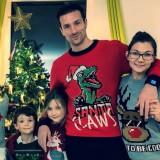 Suéter de manga larga con cuello redondo y estampado navideño de papá y mamá