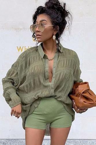 Herfst casual groen shirt met lange mouwen
