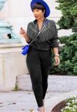 Otoño Casual Diamante de imitación negro con borlas Cremallera Conjunto de pantalón y top de manga larga