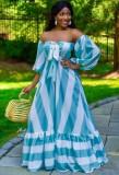 Vestido largo con hombros descubiertos y estampado de rayas azul claro