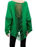 Suéter de línea de corte de manga larga con cuello redondo verde casual de otoño