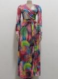 otoño vestido largo cruzado con abertura multicolor y abertura Nexk