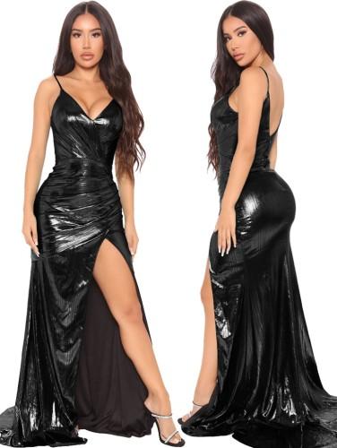 フォールブラックシャイニーVネックノースリーブスプリットイブニングドレス