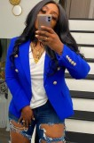 Otoño azul manga larga con botón Slim Blazer