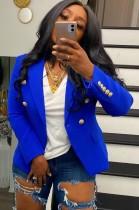 Blazer a maniche lunghe blu autunnale con bottoni