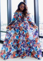 Sonbahar Büyük Beden Renkli Düşük Omuz Fırfırlı Maxi Elbise