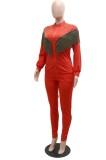 Otoño Casual Diamante de imitación rojo con borlas Cremallera Conjunto de pantalón y top de manga larga