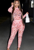Autumn Casual Pink Print Skinny  Long Sleeve Top and Pant Set