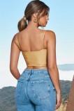 Fall Gold Camisole club Sling Zipper Crop Top