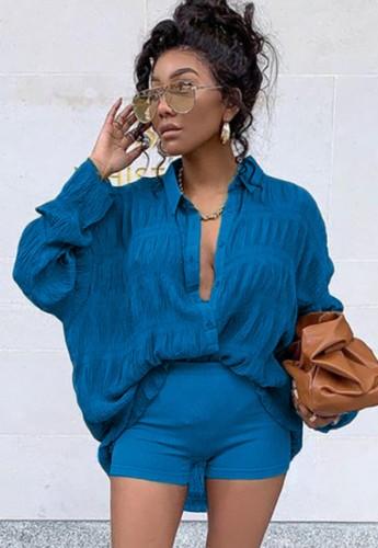Herfst casual blauw shirt met lange mouwen
