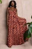 Vestido largo holgado informal con tirantes marrones de talla grande de otoño