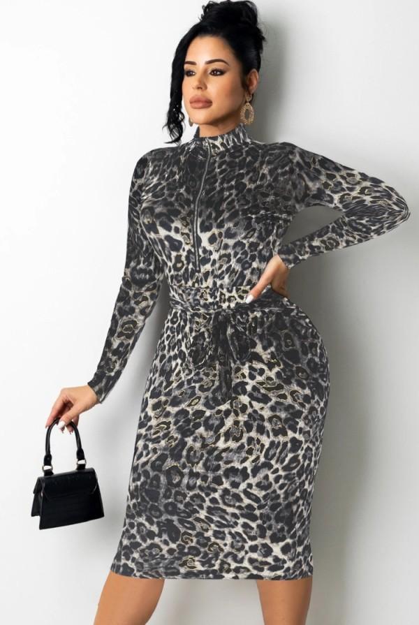 Vestido a media pierna de manga larga con cremallera de leopardo negro sexy de otoño