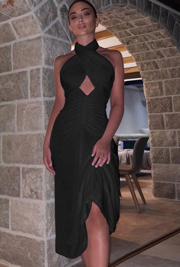 Vestido de fiesta sin mangas con cuello halter cruzado negro sexy de otoño