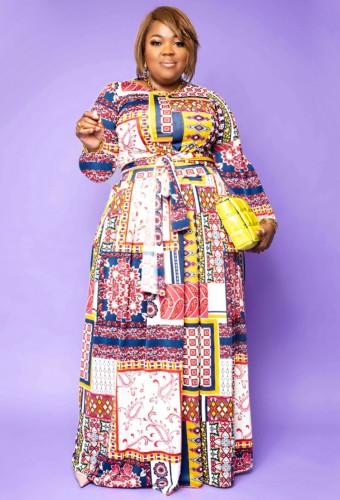 Grote maten retro-print maxi-jurk met lange mouwen en riem