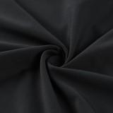 Minivestido casual negro de manga larga con cuello hundido de otoño
