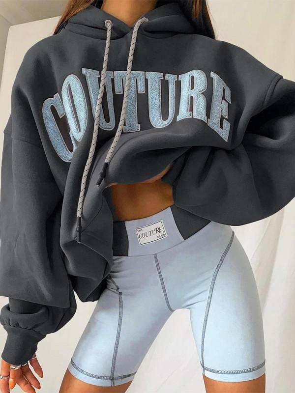 FallCasual Sudaderas con capucha sueltas en gris oscuro