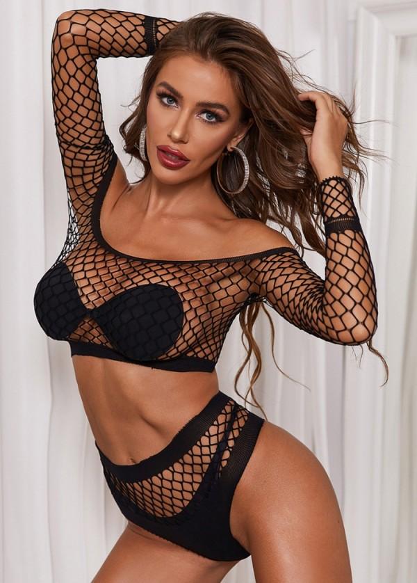 Conjunto de ropa interior y top corto erótico negro sexy con hombros descubiertos y rejilla