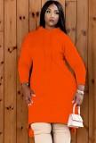 Vestido casual naranja de manga larga con capucha de otoño