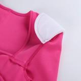 Vestido ajustado con hombros descubiertos y cuello cuadrado rosa sexy de otoño
