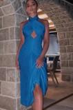 Vestido de fiesta sin negro con cuello halter cruzado azul sexy de otoño