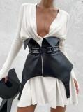 Minivestido casual blanco de manga larga con cuello hundido de otoño