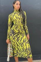 Fall Print High Neck Long Sleeve Slim Midi Dress
