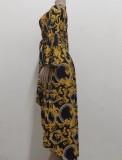 Vestido largo irregular con cuello en V floral retro de otoño