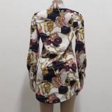 Blusa de manga larga con cadena retro elegante de otoño
