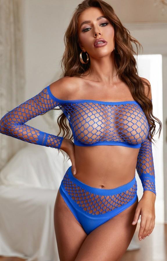 Conjunto de ropa interior y top corto de rejilla erótica azul sexy con hombros descubiertos