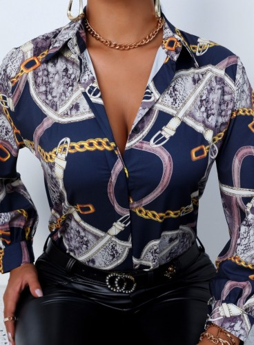 Herfst elegante retro blouse met lange mouwen
