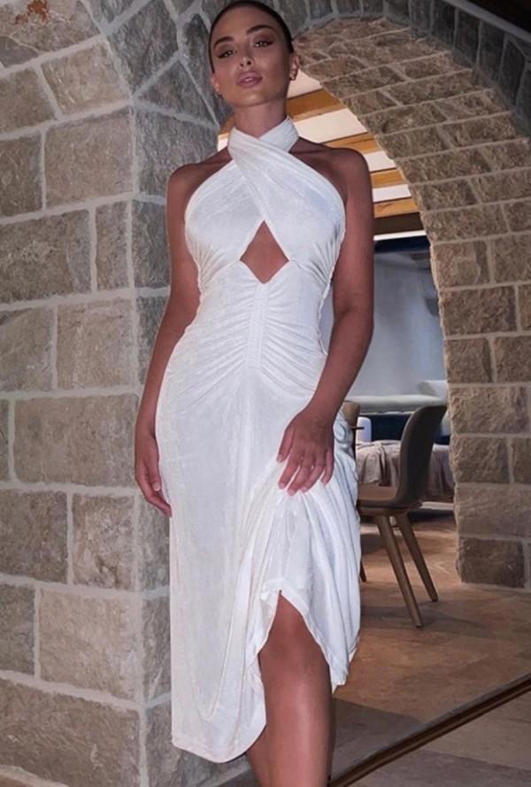 Vestido de fiesta sin negro con cuello halter cruzado blanco sexy de otoño