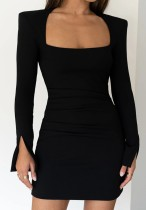 Fall Sexy Black Square collar Pad Shoulder Bodycon Dress
