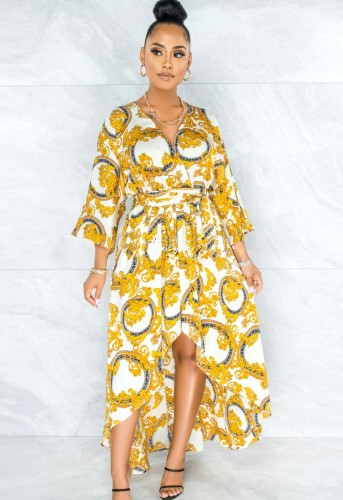 Herfst retro bloemen V-hals onregelmatige lange jurk