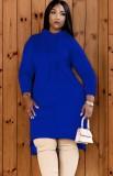 Vestido con capucha de manga larga azul naranja de otoño