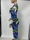 Vestido largo delgado con cordones y estampado azul sexy de otoño