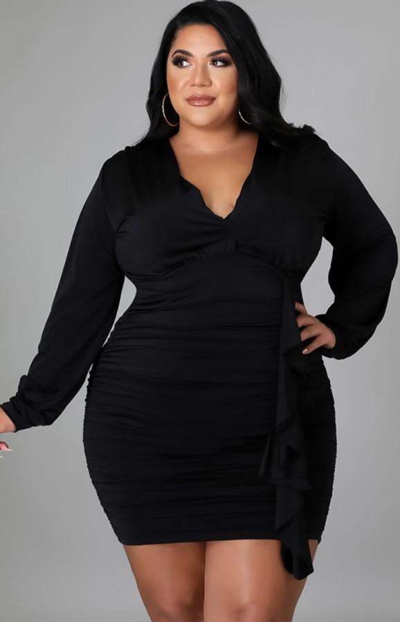 Vestido ajustado con volantes y cuello en V negro de talla grande sexy de otoño