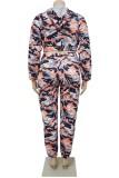 Conjunto de pantalones y sudaderas con capucha de camuflaje multicolor de talla grande de otoño