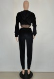 Autumn Black Patch Hoody Body y pantalones de chándal 2 piezas de chándal
