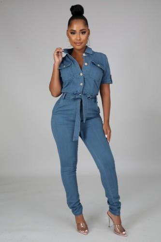 Tuta di jeans casual a maniche corte autunnale con cintura
