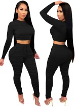 Autumn Party Sexy Tight Crop Top and Pants Set Black