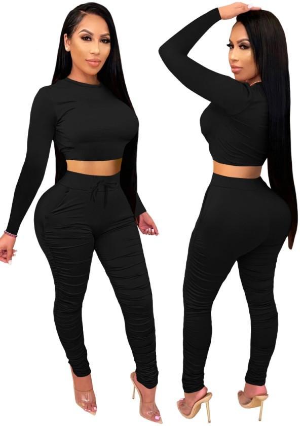Conjunto de pantalones y top corto ajustado sexy de fiesta de otoño negro