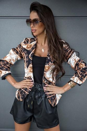 Elegante regular blazer met omgeslagen kraag en herfstprint
