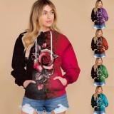 Top con capucha floral informal de talla grande de otoño