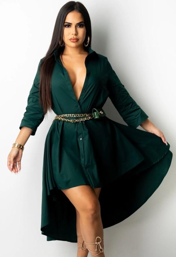 Vestido de blusa alta baja verde otoño