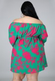 Vestido corto con hombros descubiertos y estampado de tallas grandes de otoño con cinturón