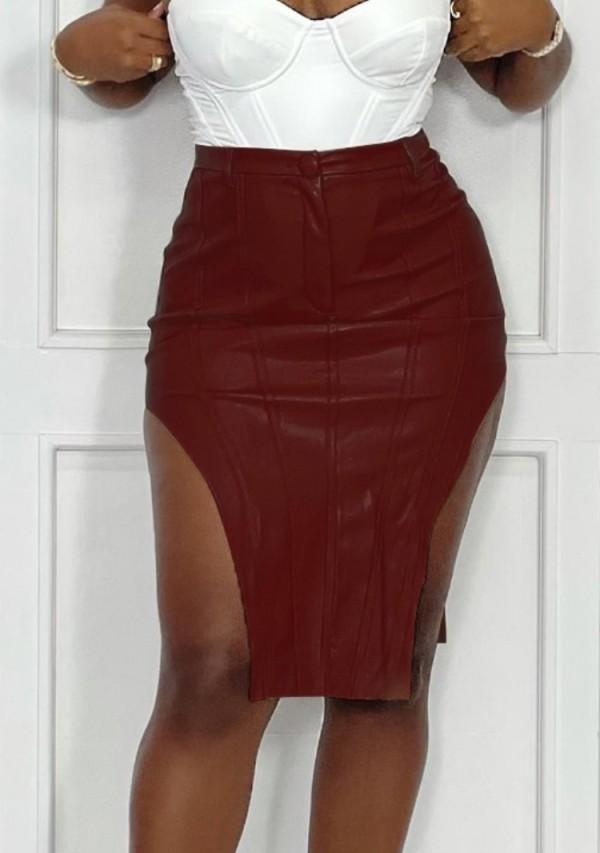 Falda de cuero irregular de cintura alta de invierno Burgunry