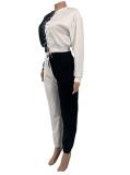 Chándal con pantalón y top con cordones de color en contraste de otoño